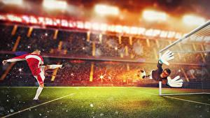 Wallpaper Footbal Goalkeeper (football) Men Uniform Lawn Hands Jump Sport
