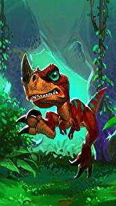 Fondos de Pantalla Hearthstone: Heroes of Warcraft Dinosauria Cachorros Raptor Hatchling Juegos