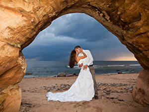 Wallpaper Love Coast 2 Wedding Grooms Bride Embrace Kissing Frock young woman