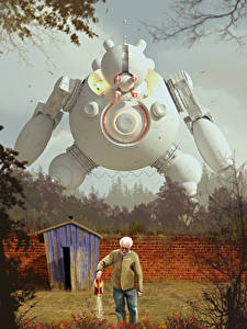 Bilder Alter Mann Zaun Roboter Fantasy
