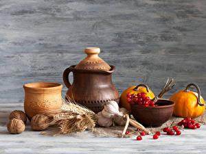 Bilder Stillleben Kürbisse Schalenobst Knoblauch Mehlbeeren Krüge Ähre das Essen
