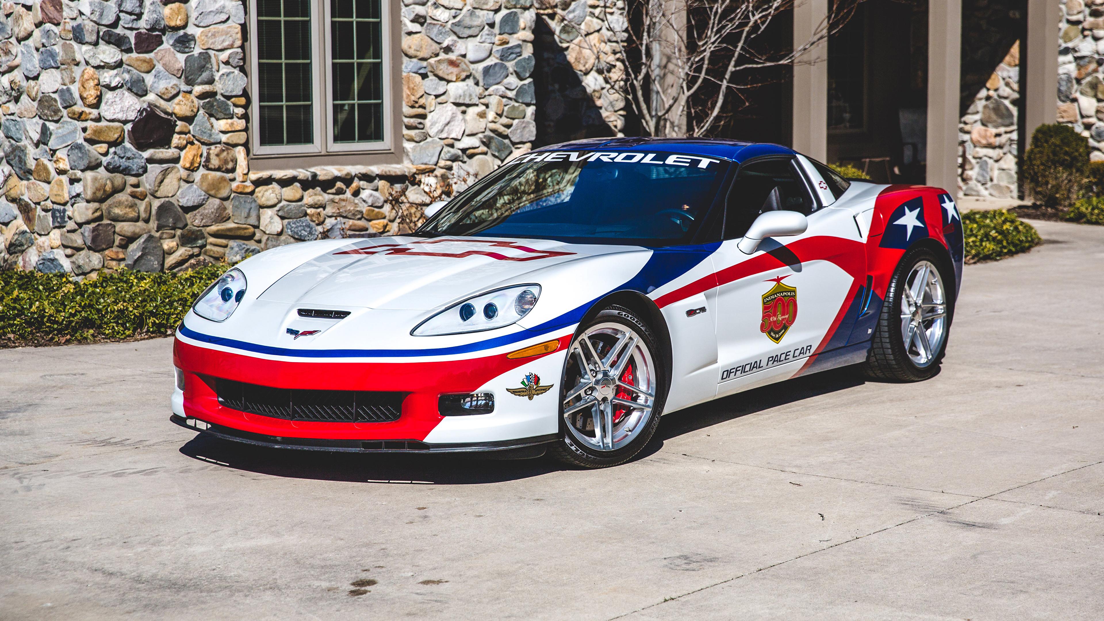 Pictures Tuning Chevrolet 2006 Corvette Z06 Indianapolis 500 Pace Car White Cars 3840x2160 auto automobile