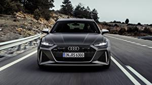 Picture Audi Moving Blurred background Front Gray Station wagon rs6 avant, 2019 automobile