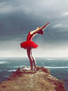 壁纸、、岩石、ドレス、ダンス、手、バレエ、少女、