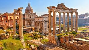 デスクトップの壁紙、、ローマ、イタリア、廃墟、柱、Arch Septimius Severus, Temple Saturn、