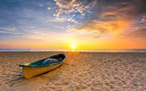 Hintergrundbilder Himmel Boot Sonnenaufgänge und Sonnenuntergänge Sonne Strand Natur