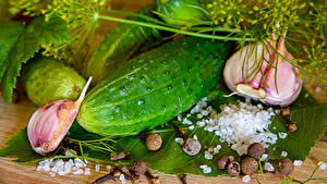Pictures Cucumbers Allium sativum Dill Black pepper Salt Food