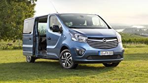 Bilder Opel Gras Ein Van Metallisch Hellblau Vivaro, Salon de francfort, 2017 auto