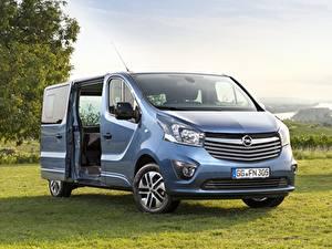 Desktop hintergrundbilder Opel Gras Ein Van Metallisch Hellblau Vivaro, Salon de francfort, 2017 auto