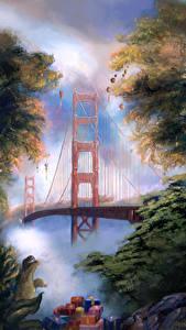 Bilder Vereinigte Staaten Brücken Neujahr Gezeichnet San Francisco Geschenke The Golden Gate Bridge