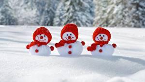 Bilder Neujahr Schneemänner Drei 3 Mütze Schnee