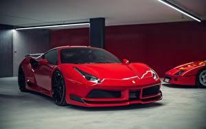Bilder Ferrari Rot GTB Novitec Rosso 488 Autos