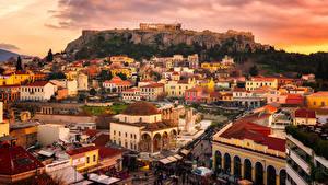 デスクトップの壁紙、、ギリシャ、建物、廃墟、朝焼けと日没、Attica、