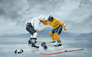 Picture Hockey Men 2 Ice Fight Helmet Uniform athletic