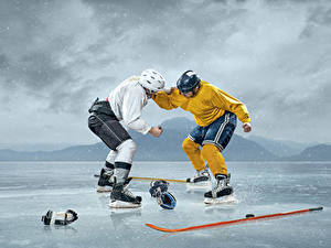 Picture Hockey Men 2 Ice Fight Helmet Uniform