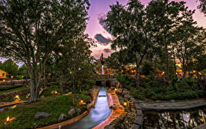 Hintergrundbilder Vereinigte Staaten Disneyland Park Abend Kalifornien Anaheim Design HDR Bäume Kanal Natur