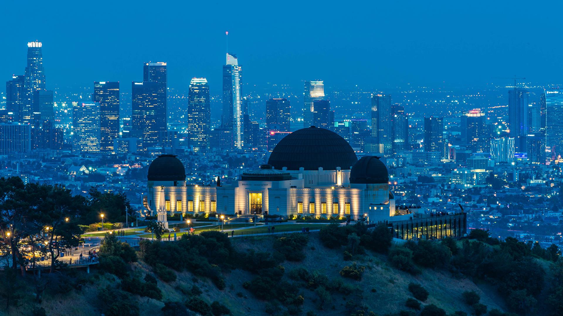 壁紙 19x1080 アメリカ合衆国 住宅 夕 Griffith Observatory ロサンゼルス 都市 ダウンロード 写真