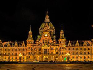 Bilder Deutschland Haus Design Nacht Straßenlaterne Rathaus Hannover Städte
