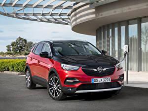 Bilder Opel Hybrid Autos Rot Metallisch 2019-20 Grandland X Hybrid4