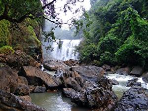 Hintergrundbilder Steine Flusse Wasserfall Indien Sathodi Waterfall, Kali Gandaki River Natur