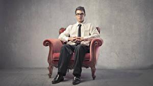 Wallpaper Man Armchair Sitting Glasses