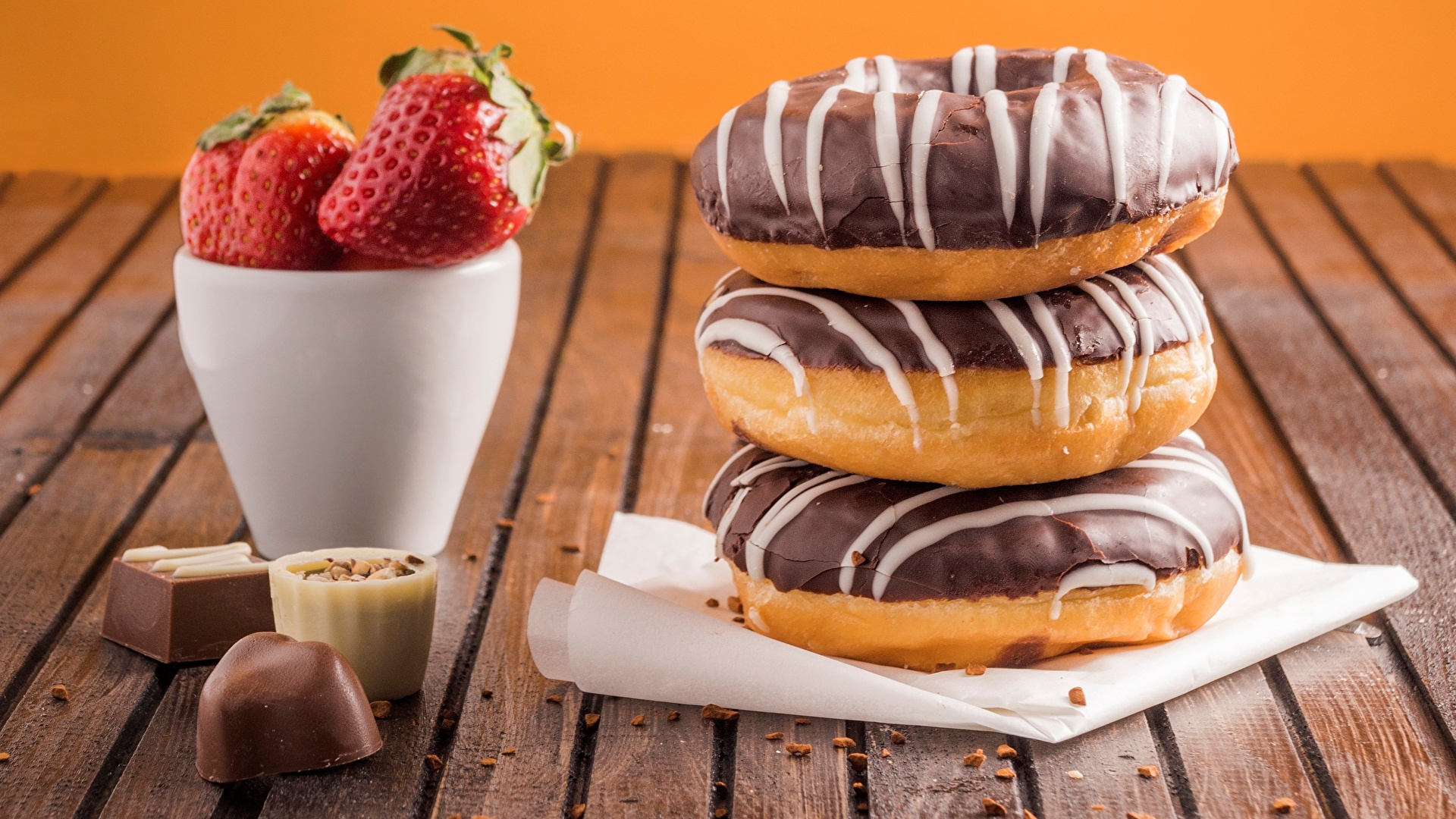 Pictures Chocolate Candy Donuts Strawberry Food 1920x1080 Doughnut