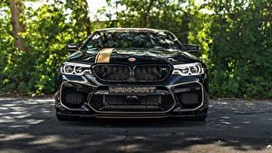 Bureaubladachtergronden BMW Vooraanzicht Zwart kleur Metallic 2018 Biturbo M5 Manhart V8 F90 MH5 700 auto's