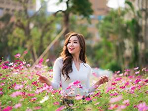 Bilder Asiatische Schmuckkörbchen Unscharfer Hintergrund Pose Lächeln Braunhaarige Schönes Mädchens