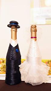 Hintergrundbilder Champagner Kreativ Flaschen 2 Design Hochzeit Der Hut Bräutigam Braut Lebensmittel