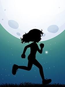Fotos Mond Silhouette Laufsport Kleine Mädchen Nacht