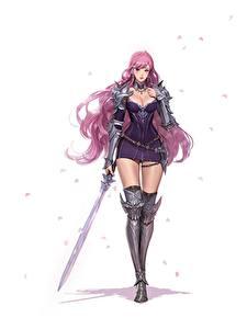 Fotos Krieger Weißer hintergrund Schönes Schwert Bein Kleid Rüstung Junq Jeon Fantasy Mädchens