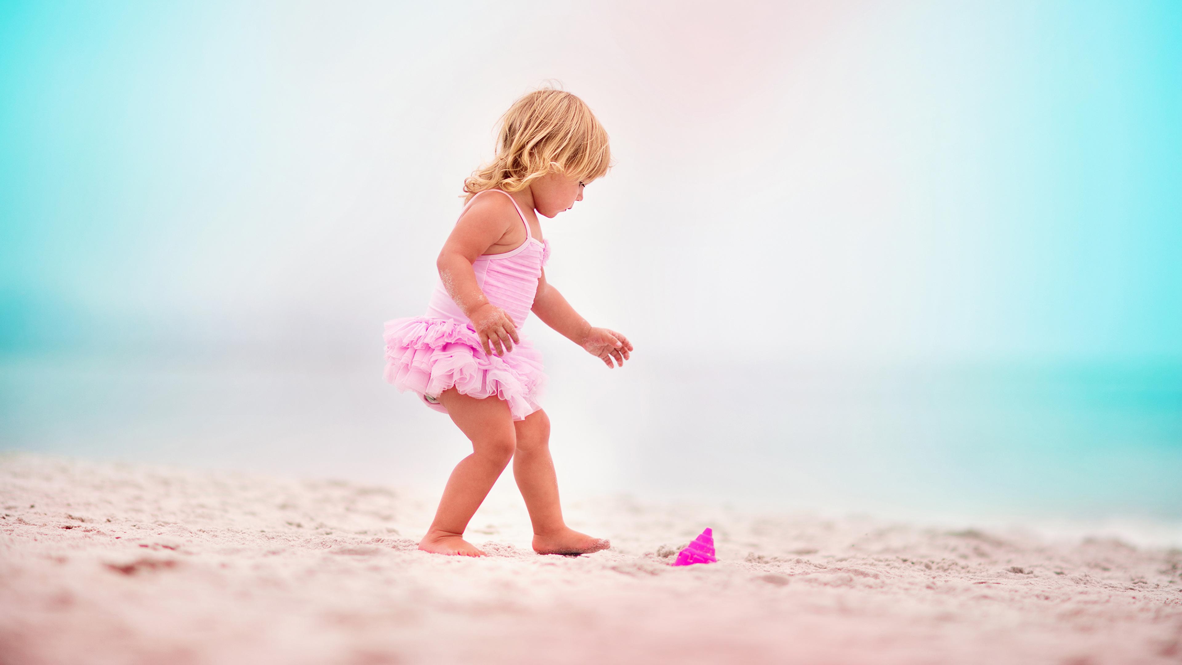 Desktop Wallpapers Little Girls Beaches Children Sand 3840x2160