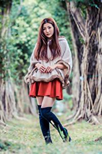 Desktop hintergrundbilder Asiaten Pose Stiefel Bäume Starren junge Frauen