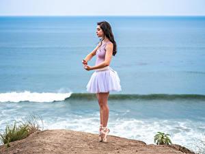 Bilder Küste Pose Ballett Bein Tanz Mädchens