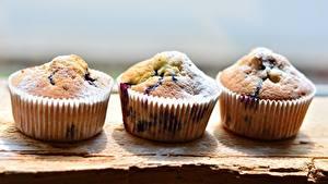 Desktop hintergrundbilder Backware Keks Puderzucker Muffin Bokeh Drei 3 das Essen