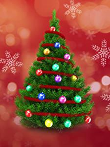 Fotos Neujahr Weihnachtsbaum Kugeln Schneeflocken