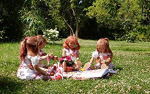 Bilder Park Puppe Kleine Mädchen Sitzend Gras Grugapark Essen Natur