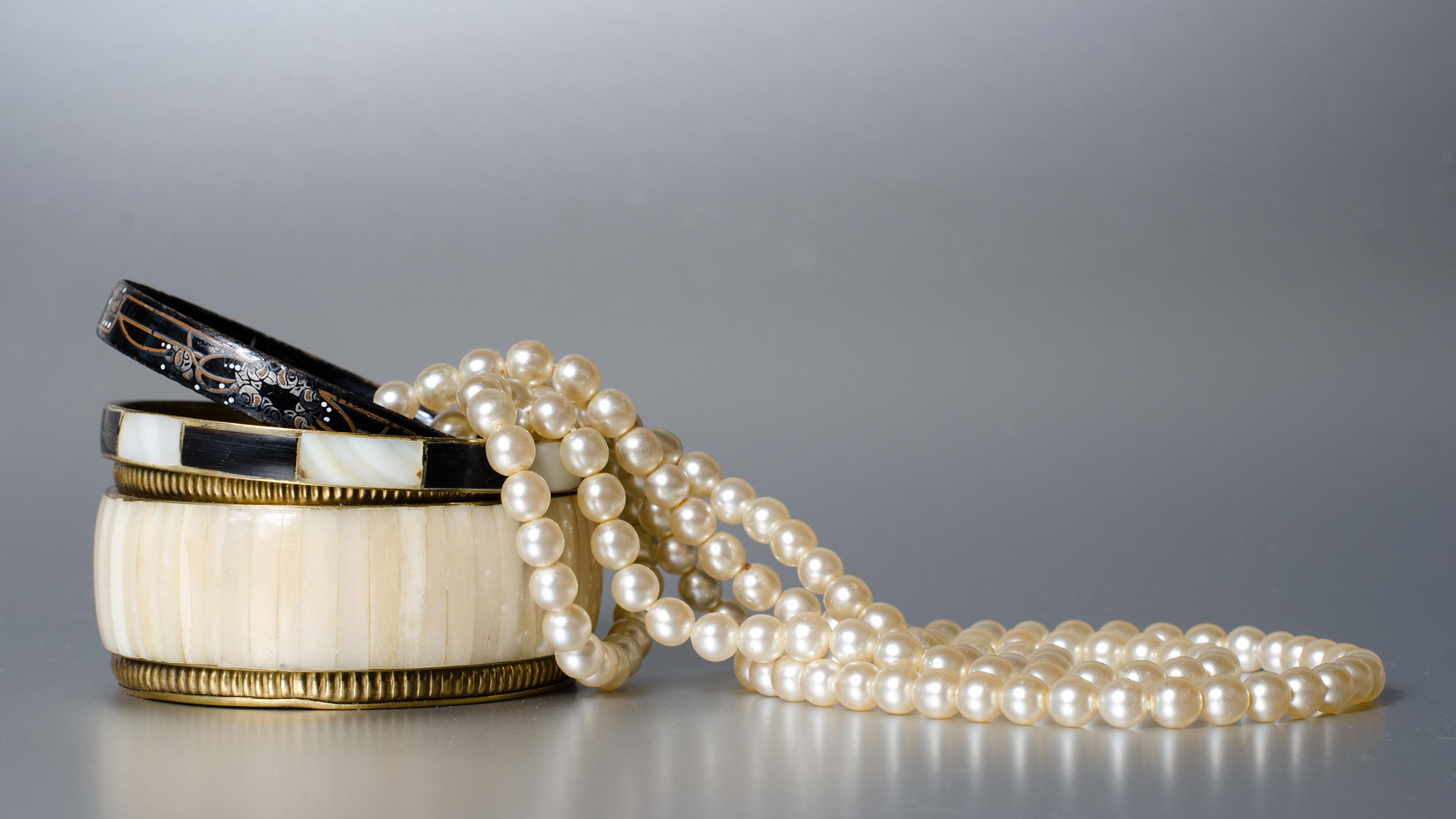 Photo Pearl Gray Background Jewelry 3840x2160