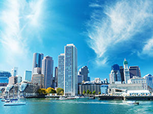 Hintergrundbilder USA Boston Haus Fluss Schiffsanleger Städte