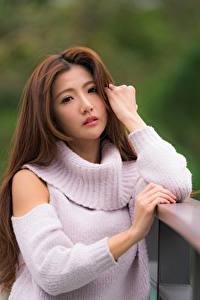 Bilder Asiaten Unscharfer Hintergrund Braune Haare Sweatshirt Hand Starren