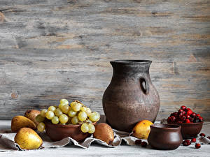 Hintergrundbilder Stillleben Weintraube Birnen Beere Kannen