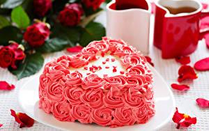 Hintergrundbilder Valentinstag Süßigkeiten Torte Design Herz Kronblatt