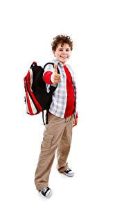 Fotos Schule Weißer hintergrund Jungen Lächeln Rucksack kind