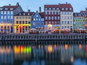 Hintergrundbilder Dänemark Kopenhagen Haus Abend Kanal Straße Café Waterfront