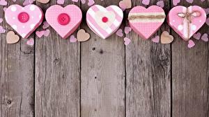 Papel de Parede Desktop Dia dos Namorados Coração Tábuas de madeira Cartão do molde
