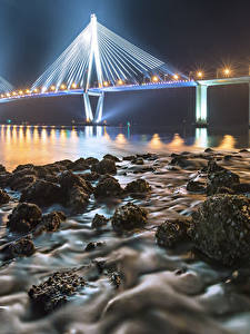 Fotos England Küste Brücken Steine Nacht Straßenlaterne Iron Bridge Natur