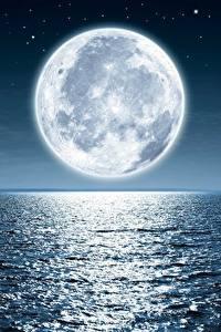 Fotos Meer Mond Nacht Horizont