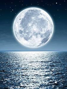 Fotos Meer Mond Nacht Horizont Natur