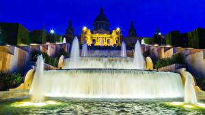 Hintergrundbilder Spanien Springbrunnen Barcelona Nacht Straßenlaterne