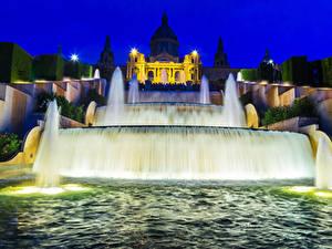 Hintergrundbilder Spanien Springbrunnen Barcelona Nacht Straßenlaterne Städte